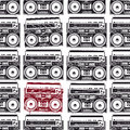 Old school tape recorders psychedelic style seamless texture vector illustration Stock Image
