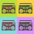 Old school tape recorders psychedelic style vector illustration Royalty Free Stock Photo