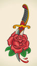Old school tattoo dagger through rose styled of a editable vector illustration Royalty Free Stock Images