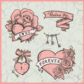 Old school vector graphic set with hearts roses and ribbons valentine day symbols illustration against vintage cracked backdrop Stock Photography