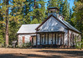 Old schoolhouse in rural california a mining town Stock Image