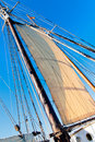 Old Schooner mast, sail and Rope Royalty Free Stock Photo
