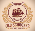 Old schooner port wine label retro styled including the image of a sailboat editable vector illustration Royalty Free Stock Image
