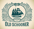 Old schooner restaurant label retro styled including the image of a sailboat editable vector illustration Stock Photo