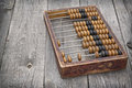 Old scores retro abacus on a wooden table Stock Images