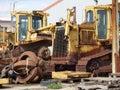 Old scrap bulldozer iron heavy Stock Photos