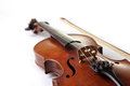 Old scratched violin on white background music collection Stock Images