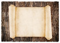 Old scroll paper on wood background Stock Photography
