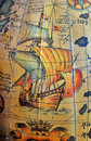 Old sea map with sailing ship hand painted Royalty Free Stock Images