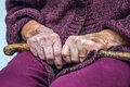 Old senior woman hands crutch Royalty Free Stock Photo