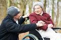 Old Senior Woman In Wheelchair...