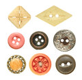 Old sewing buttons collection isolated on white background Royalty Free Stock Photo