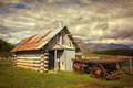 Old shack in australia an and remains of a cart countryside victoria Stock Photography
