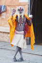 Old shaiva sadhu seking alms in Pashupatinath Stock Photos