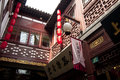 Old shanghai houses with decorations yuyuan garden china Royalty Free Stock Photo