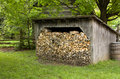 Old shed with firewood Royalty Free Stock Photo