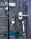 Old shed various locks wooden with and handles Royalty Free Stock Photos