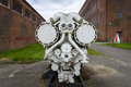 Old ship diesel engine. Territory of the Army Research Center. Royalty Free Stock Photo