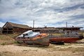 Old ship on the docks olkhon island in lake baikal eastern siberia Stock Images