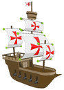 Old ship frigate or galleon vector artwork isolated on white background Royalty Free Stock Image