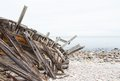 Old shipwreck on a seashore Stock Photos