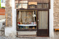 Old shop window in ohrid macedonia this is a picture of a very rustic wooden Stock Photos