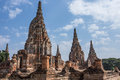 Old siam temple of ayutthaya wat chaiwatthanaram Royalty Free Stock Images