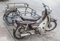 Old sidecar motorcycle park on the road Royalty Free Stock Photo