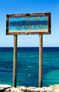 Old Sign Oceano Atlantico in Tarifa Stock Photos