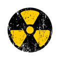 Old sign radioactive danger. Shabby retro toxic danger symbol gr Royalty Free Stock Photo