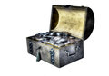 Old silver coins an trunk with a small treasure trove of in a fantasy atmosphere Stock Photography
