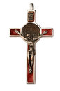 Old silver crucifix isolated on white background Stock Images