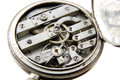 Old silver pocket watch mechanism Royalty Free Stock Photos