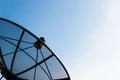 Old single satellite dish with twilight blue sky Royalty Free Stock Photo