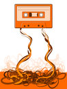 Old skool tape cassette unraveled messy background Royalty Free Stock Photos