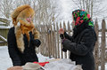 Old slavonic divinations minsk belarus january traditional divination during the holiday kalyada in strochitsy in belarusian state Stock Photography