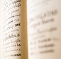 The old slavonic grammar open book close up Stock Photos