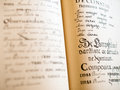 The old slavonic grammar open book close up Royalty Free Stock Images