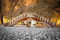 Old small bridge in budapest at the park Royalty Free Stock Images