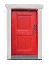 Old small wooden red door isolated. Royalty Free Stock Photo