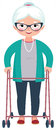 Old smiling woman standing in full body leaning on a walker Royalty Free Stock Photo