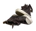 Old sneakers a pair of brown in white back Royalty Free Stock Photos
