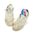 Old sneakers top angle a view of a favorite pair of comfortable with socks tucked inside Stock Photography