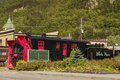 Old snow blower train at skagway alaska with the station in the background Royalty Free Stock Photos