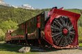 Old snow blower train at skagway alaska and trees in the background Royalty Free Stock Photo