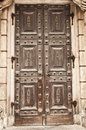 Old solid door and cracked Royalty Free Stock Photo
