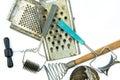Old soviet kitchen tools set on white backgroud Stock Photo