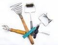 Old soviet kitchen tools set on white backgroud Royalty Free Stock Photos