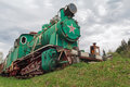 Old Soviet locomotive stands on a dead-end path Royalty Free Stock Photo