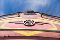 Old soviet locomotive train closeup under blue sky Royalty Free Stock Photo
